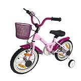 SPACEBABY Mädchenfahrrad Kinderfahrrad für Mädchen Rosa Pink ab 3 Jahre 14 Zoll - Einfache...