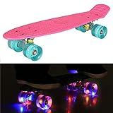 55cm/22 Mini Cruiser Board Retro Skateboard Komplettboard mit LED Leuchtrollen für Jugendliche...