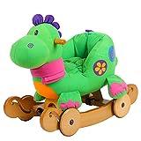 labebe 2 in 1 Plüsch Rocker mit Rad - Grüner Dinosaurier, hölzernes Schaukelpferd für Kinder...
