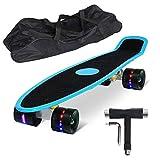 Feldus 22' Retro Skateboard Komplett Fertig Montiert mit Tasche und T-Tool (Deck LED Blau/ LED...