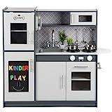 Kinderholzküche Kinderküche Holzküche Kinderspielküche Weiss Spielzeugküche LED GS0057...