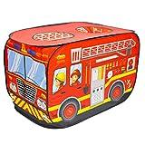 deAO Faltbares Spielzelt für Kinder im Feuerwehrauto-Design.Großartiges Geschenk für den Innen-...