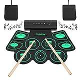 Elektronisches Schlagzeug Kit 9 Pads Tragbare Roll Up Midi Tabletop E-Drum Schlagzeug Set mit...