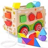 JOYNOTE Sortierbox Auto Baby Spielzeug mit Tangram / Lernspielzeug Kinder Holz Spielzeug /...