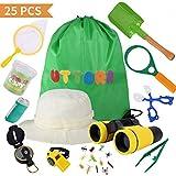 UTTORA Spielzeug für draußen 25 Stück,Draussen Forscherset Kinder fernglas, Taschenlampe,...