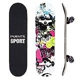 NACATIN 602 Skateboard Komplettboard mit ABEC-9 Kugellager 92A PU Räder 8-langigem Ahornholz...