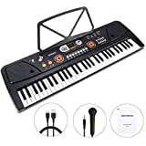 WOSTOO Kinder Keyboard, Multifunktions Digital Piano 61 Tasten Keyboard Set mit Mikrofon...