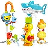 NUÜR Badespielzeug-Set, Ente Hai Badewannenspielzeug Hochwertiges Baby Badespielzeug Wassermühle...