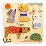Djeco DJ01051 Holz Puzzle Woodypets Dicke Puzzleteile Tiere Ab 12 Monate Bunt