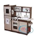 MCC Spielküche aus Holz für Mädchen und Jungen, wunderschönes Design, BRAUN / Silber, Unisex