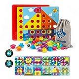 Fansteck Mosaik Steckspiel für Kinder ab 2 Jahre, Steckmosaik mit 46 Steckperlen und 12 Bunten...