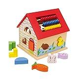 Multifunktionshaus 'Leo' aus Holz, mit verschiedenen Motorikschleifen, Puzzles, Rechentafel,...