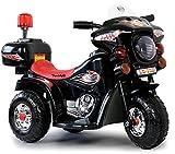 Toyas Kinder Motorrad Elektrofahrzeug Polizei Bike Kindermotorrad Elektromotorrad (Schwarz)
