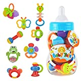 WISHTIME Baby erstes Rassel und Beißring Spielzeug 9 Stücke mit Große Baby Flasche Spardose...