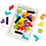 Buself Tetris Holzpuzzle Spielzeug ab 3 Jahren Jungen Tetris Tangram Holzpuzzles Lernspiele ab 2 3 4...