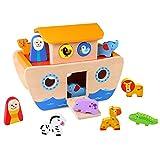 Tooky Toy 921 TKC304 Arche Noah Bunten Tieren Und Bauklötzen-18-Teiliges Holz-Spielzeug Für...