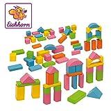 Eichhorn 75 pastellfarbene bunte Holzbausteine in Aufbewahrungsbox und Sortierdeckel, FSC 100%...