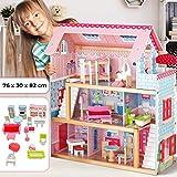 Infantastic Puppenhaus aus Holz   3 Spielebenen, mit Möbeln und Zubehör, für 12 cm große Puppen...