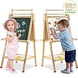 Standtafel Kinder Arkmiido, Kindertafel mit Kreide und Magnet, doppelseitig aus Holz