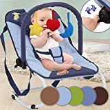 Babywippe | mit 3-Punkt-Sicherheitssystem, stabilem Metallrohr-Gestell, Schaukelfunktion,...
