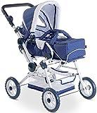 Götz 3402055 Spotty Blue höhenverstellbarer 4-rädriger Puppenwagen in blau / weiß - passend für...
