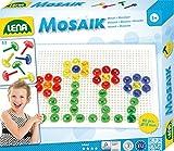 Lena 35602 - Mosaik Steckspiel Set mit 80 transparent farbigen Mosaikstecker je 15 mm und...
