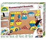 Lena 65828 - Hammerspiel Baustelle, Nagelspiel mit 64 Teilen in 7 Formen und 8 Baustellen Teilen,...
