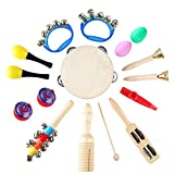 MVPower 15 Stück Musikinstrumente Set - Rhythm Percussion Musik Holzinstrumente Set Schlagzeug...
