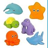 Badewannenspielzeug Wasserspritztiere ab 6 Monaten, 6er Set BPA frei und Schadstofffrei...