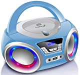 CD-Player mit LED-Beleuchtung | Kopfhöreranschluss | Tragbares Stereo Radio | Kinder Radio |...