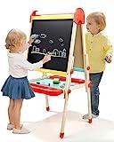 TOP BRIGHT Kindertafel Standtafel Holz, Kindertafel mit Kreide und Magnet, Tafel Kinder...