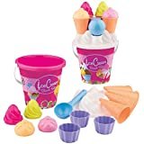 Simba 107114092 - Eimergarnitur Eis, 14 Teile, Sandkasten, Wasserspielzeug, Sandspielzeug, Es wird...