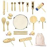 Ulifeme Holz Musikinstrumente Set, 27 Stück Instrumente für Kinder, Kleinkinder und Baby, Reines...