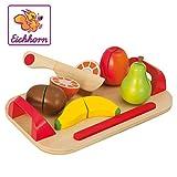 Eichhorn 100003721 - Schneidebrett mit Früchten, 26x16,5cm 12-tlg., Schneideobst aus Holz mit...