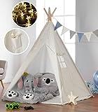 Haus Projekt Tipi Zelt Set Kinder mit Zubehör, Lichterkette, Wimpelkette, Aufbewahrungstasche &...