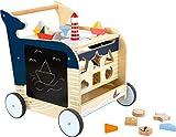 Small Foot 11608 Lauflernwagen Wal aus Holz für erste Gehversuche, multifunktional zur Förderung...