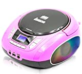 Lauson NXT965 Tragbarer CD-Player, LED-Discolichter, CD-Radio, Boombox, CD Player, Kinder Radio mit...