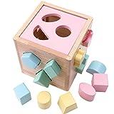 Babe Rock Steckwürfel aus Holz Würfel-Puzzle Spielzeug 2-5 Jahre für Kinder Baby (Rosa)