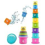 Hyselene 9 Stück Stapelbecher Baby, Sandspielzeug Badespielzeug Kinder mit Zahlen Obst Tier,...