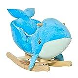 HOMCOM Schaukelpferd mit Wal-Design Sound Plüsch Schaukeltier Babyschaukel Spielzeug für 18-36...
