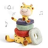 TUMAMA Baby Plüsch Rassel Spielzeug,Giraffe Sortier Stapelspielzeug,Tier weiche Rasseln Greiflinge...