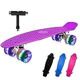 BELEEV Skateboard 22 Zoll Komplette Mini Cruiser Skateboard für Kinder Jugendliche Erwachsene, Led...
