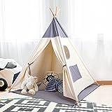 Kinderzelt Spielzelt Tipi Zelt Teepee für Kinder aus 100% Baumwolle + graue Matte+6 Meter...