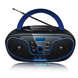 LONPOO Tragbarer CD-Player für Kinder Bluetooth Boombox mit FM-Radio, USB-Eingang, Aux-In,...