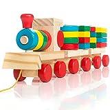 all Kids United Holz-Eisenbahn Spielzeug-Eisenbahn aus Holz; Kinderspielzeug Sortierwürfel Holzzug...