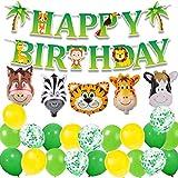 MAKFORT Kindergeburtstag Deko Happy Birthday Girlande und lustig Tier Folienballons Konfetti...