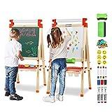 Joyooss Staffelei aus Holz mit Papierrolle, Magnetische Doppelseitige Chalkboard und Whiteboard,...