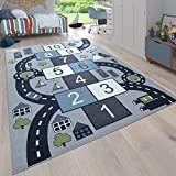Paco Home Kinder-Teppich, Spiel-Teppich Für Kinderzimmer, Hüpfkästchen und Straßen, Grau,...