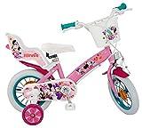 Disney Kinderfahrrad Minnie Mouse 12 Zoll Mädchen - Fahrrad mit Puppensitz, Korb, abnehmbaren...