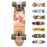meteor Holz Skateboard Kinder - Mini Cruiser Kickboard - Skateboard mädchen Rungen Kinder ab 3...
